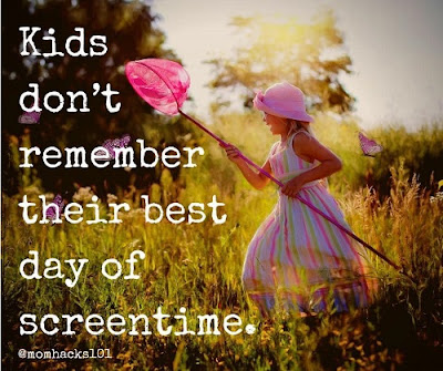 Kids don't remember their best day of screentime. Meme by Mom Hacks 101.