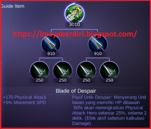 The Despair Blade item does a lot of damage to mobile legends