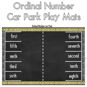 Printable Ordinal Number Car Park Mats - practice matching the ordinal number and the position word in a fun playful way with these printable car park mats - just add small cars | you clever monkey