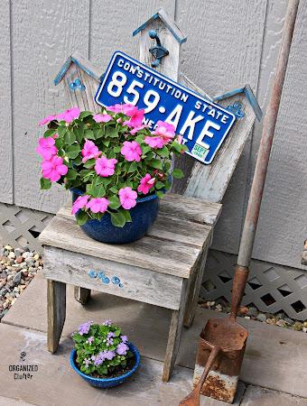 Garage Sale Blueberry Chair in the Junk Garden