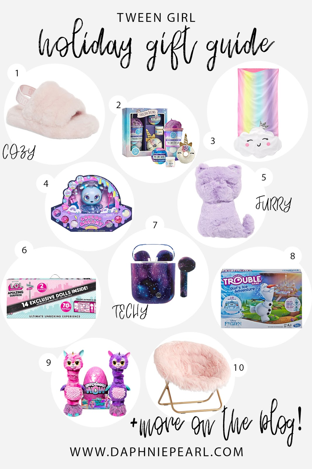 Tween Girls Gift Guide! Unique girl gift ideas for christmas birthday present affordable under $10 under $20 under $30 under $50 under $100 lol surprise ugg ipod hatchimals poopsie slime