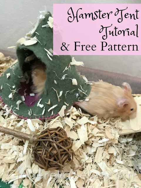 Make this tent for your dolls or pet hamster! This free sewing pattern and tutorial is a quick project to accessorize your softies for camping! #dolls #beginnersewing #sewing #felt #sewingwithkids #dollaccessories #handmadedolls #summerproject #hamster #hamsterdiy