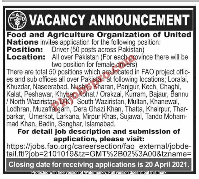 Food and Agriculture Organization of United Nations Jobs 2021