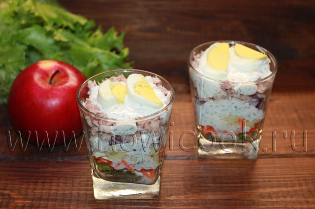 рецепт салата с тунцом и овощами
