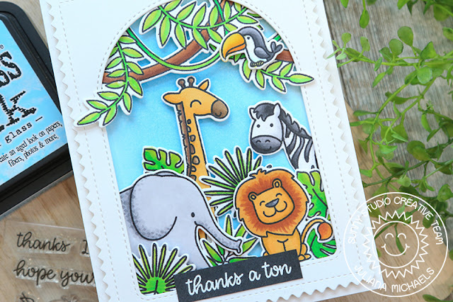 Sunny Studio Stamps: Savanna Safari Fabulous Flamingos Stitched Arch Dies Thank You Card by Juliana Michaels