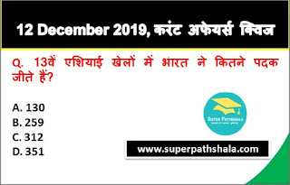 Daily Current Affairs Quiz in Hindi 12 December 2019