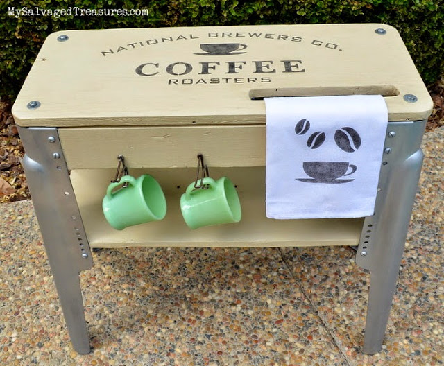 Vintage workbench repurposed coffee station stencil