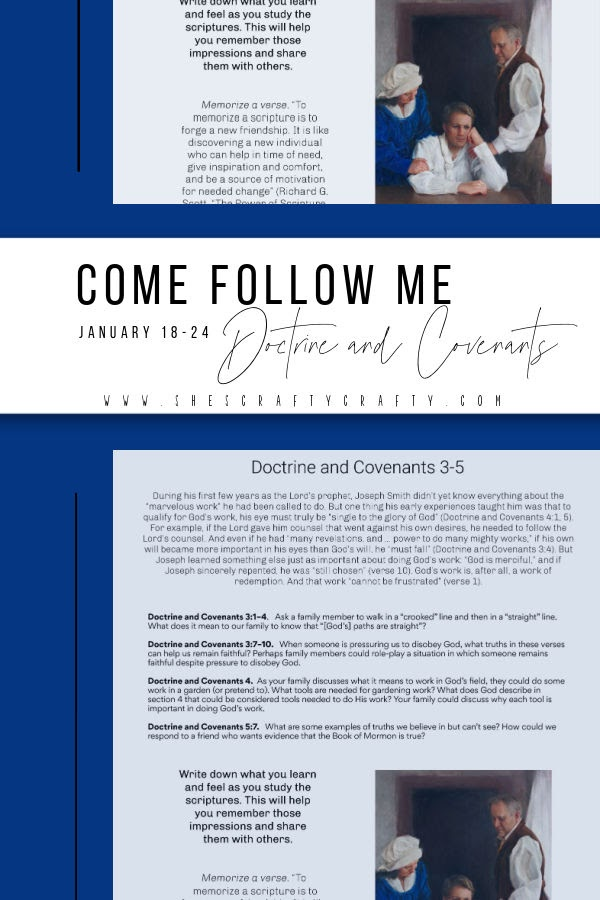 Come Follow Me Doctrine and Covenants free printable