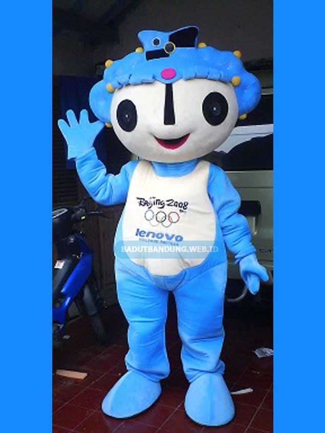 Badut lenovo biru maskot olimpiade beijing 2008