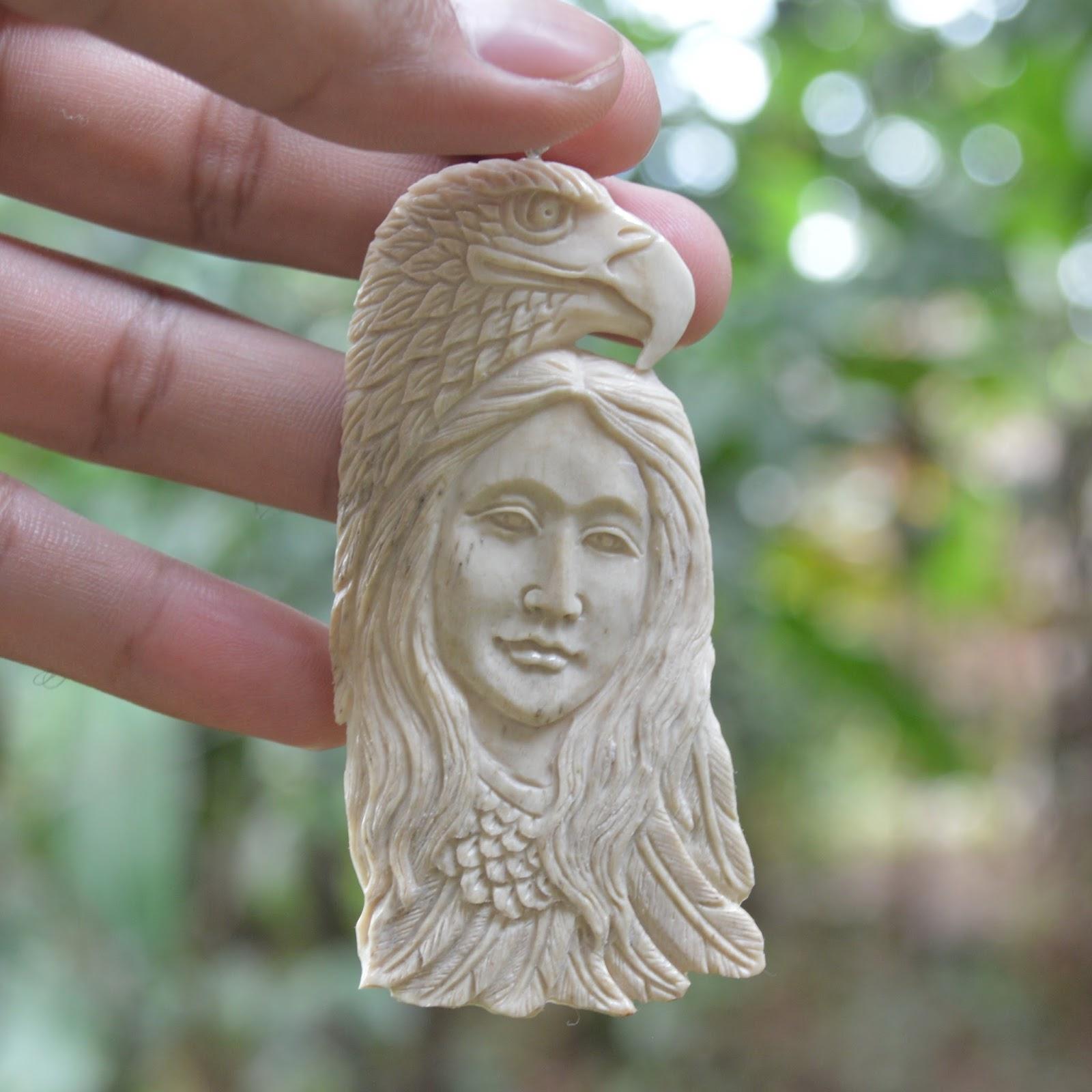 Hand Carved Eagle Goddess 3 4 Natural Buffalo Bone Carving Pendant Bead Bp 2329