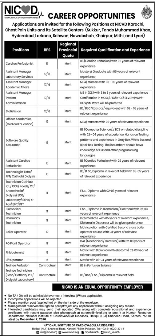 Jobs in National Institute of Cardiovascular Diseases (NICVD) Nov 2020