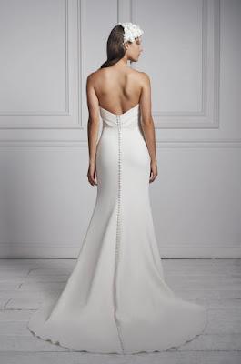 Anne Barge Strapless simple crepe sheath bridal dress back design