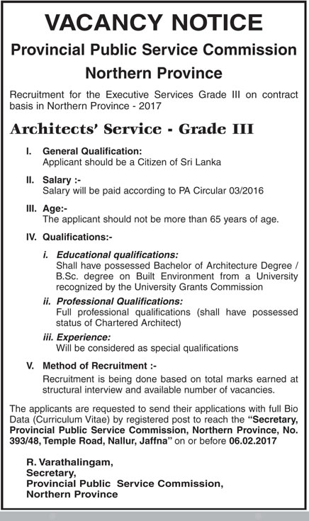 Sri Lankan Government Job Vacancies at Architects' Service - Northern Provincial Public Service Commission for Architects' Service