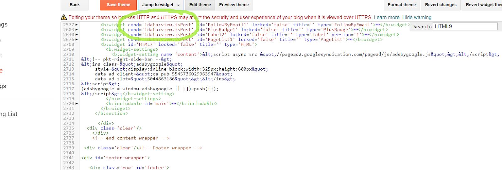 Vị trí thêm code để tùy chỉnh widget