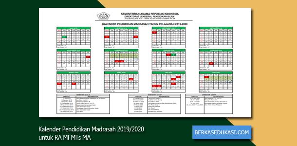 Kalender Pendidikan Madrasah 2019-2020 untuk RA MI MTs MA