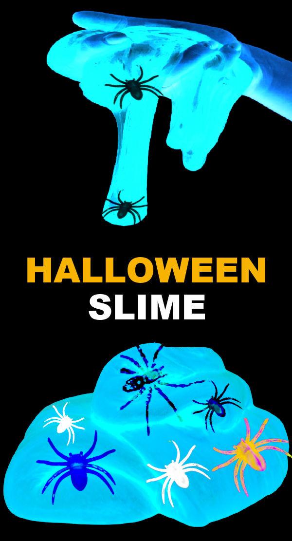 Get in the Halloween spirit and make spider slime that glows-in-the-dark! #spiderslimeforkids #spidercraftspreschool #halloween #slimerecipe #growingajeweledrose