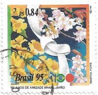 Selo 100 Anos de Amizade Brasil-Japão