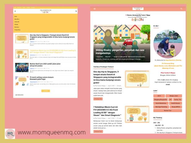 Before After Ganti template di kelas Blogspedia Tampilan Blog Maminca Sharing