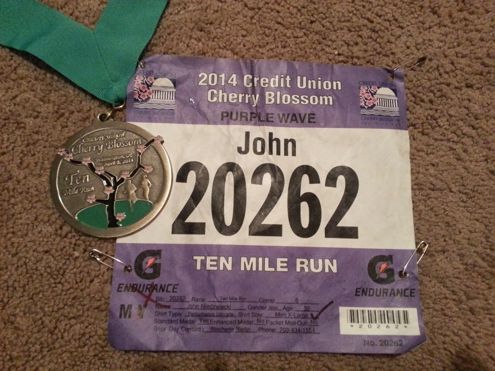 Cherry Blossom medal and bib.