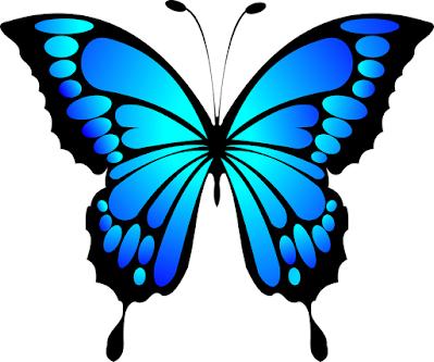 Kupu kupu kartun dengan sayap indah