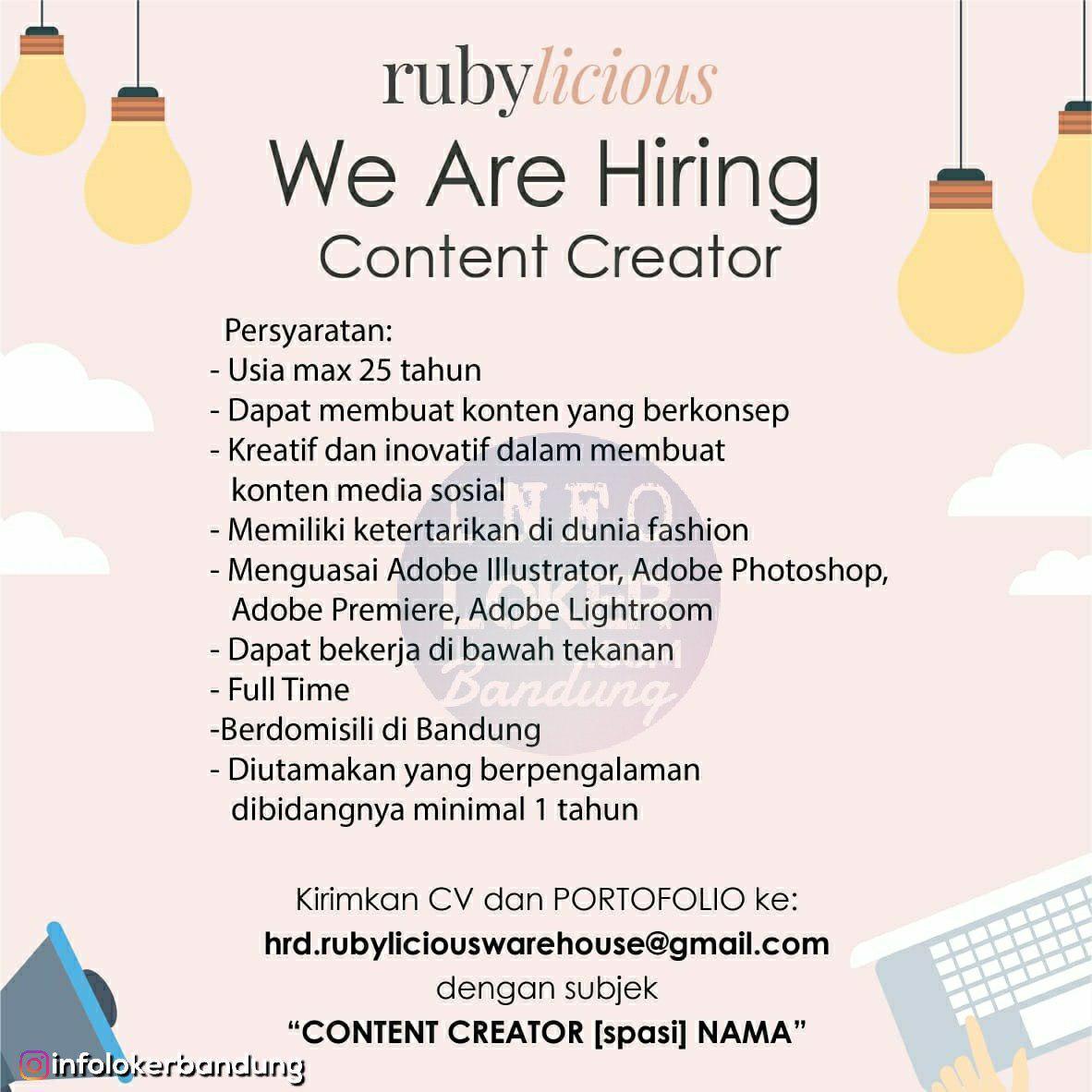 Lowongan Kerja Rubylicious Bandung Agustus 2018