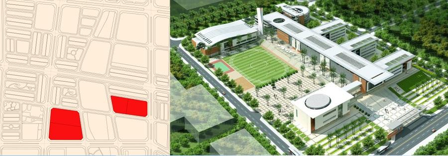 Không gian và vị trí xây trường học giai đoạn 1 Khu Đô Thị Kim Đô