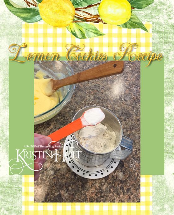 Kristin Holt | Lemon Cookies Recipe (1895), image 11- add baking soda into the sifter with one of the measured batches of flour.