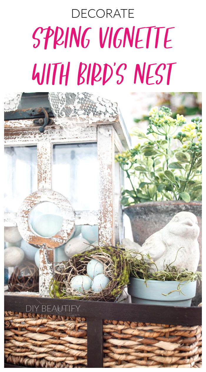 Spring tray vignette with lantern, bird's nest and greenery