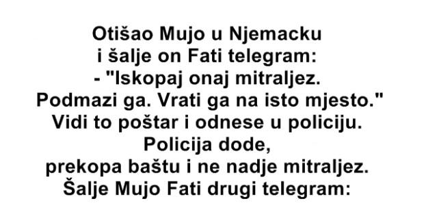 Otišo Mujo u Njemačku i šalje on Fati telegram: