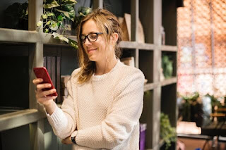 woman using smartphone app