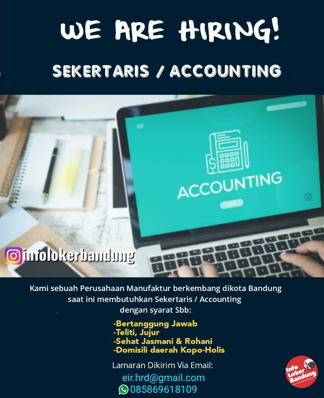 Lowongan Kerja Sekertaris / Accounting Perusahaan Manufaktur Bandung Agustus 2019