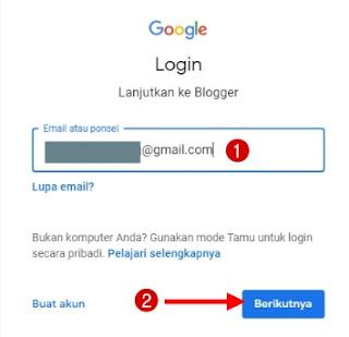 Masukkan email dan klik berikutnya