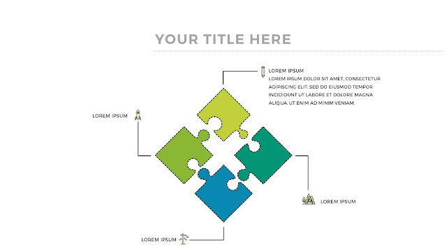 Free Infographic Puzzle Diagrams PowerPoint Template with 4 Pieces Puzzles