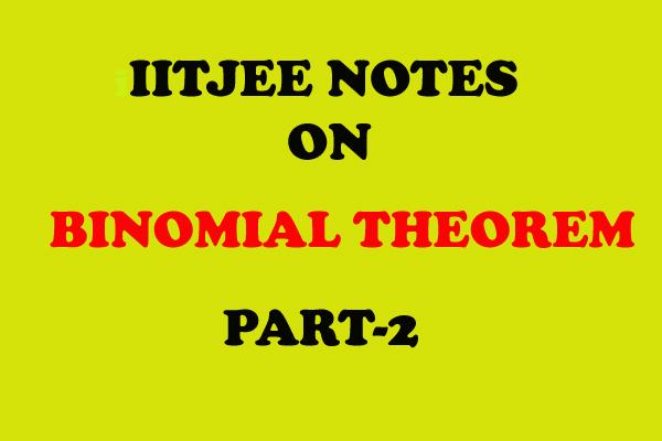 binomial theorem maths notes