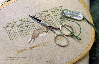 Embroidered feet and rear of hare from Jenny McWhinney's Queen Anne's Lace