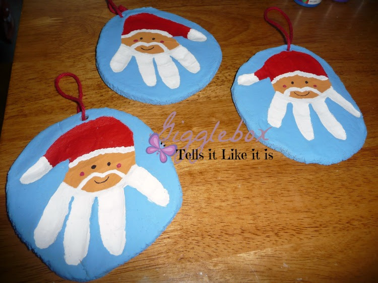 handprint santa salt dough ornament salt dough handprint santa ornaments gigglebox tells it 6693