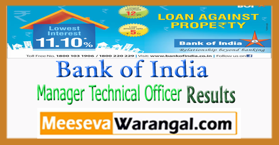 BOI Bank of India Manager Technical Officer Result 2017