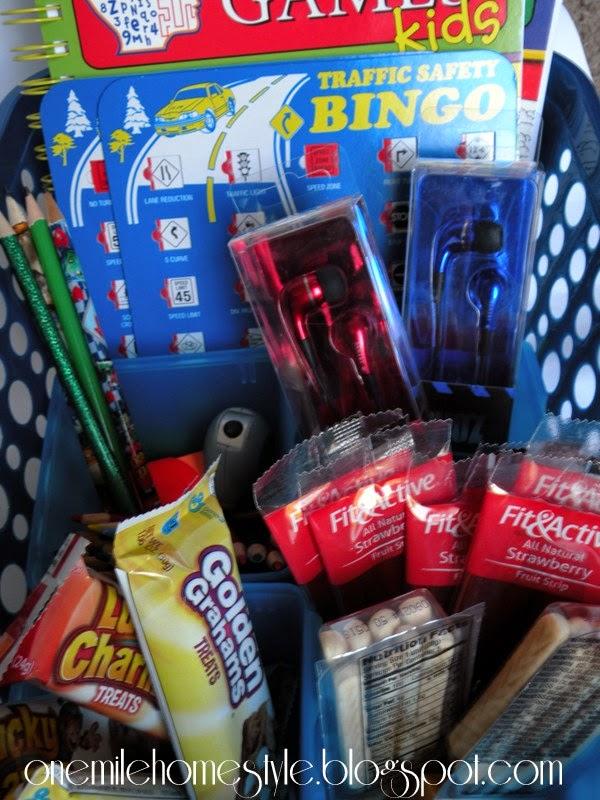 Organized kids road trip basket - snacks