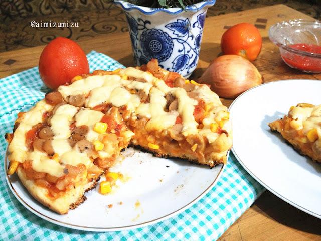 beef corn pizza jagung sosis panggang dengan teflon