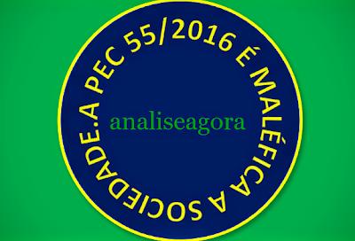 A imagem em formato de circunferência que simboliza o plenário do Senado Federal está escrita: a PEC 55/2016 é maléfica à sociedade.