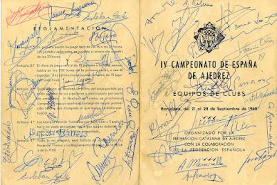 Díptico firmado del IV Campeonato de España por equipos 1960
