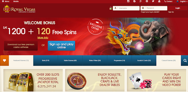 Royal Vegas Casino Homepage