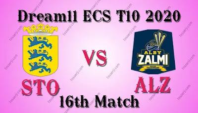 Who will win STO vs ALZ 16th T10 Match