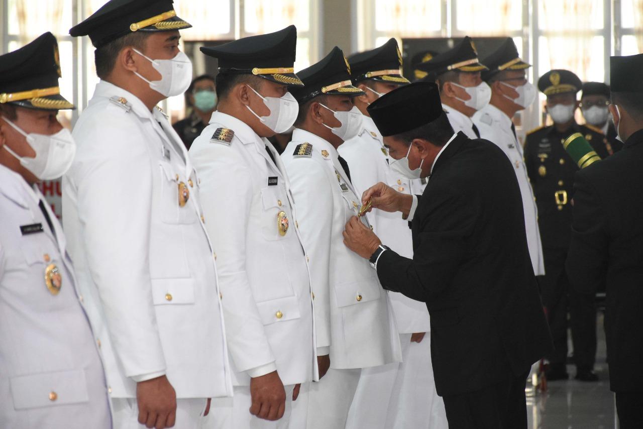 Bupati dan Wakil Bupati Sergai Dilantik Gubernur Sumut Dengan Menerapkan Prokes