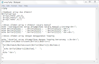 array, multidimensi, bahasa php, pemrograman web
