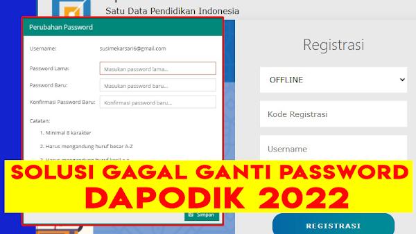 Solusi Gagal Mengganti Password Dapodik 2022