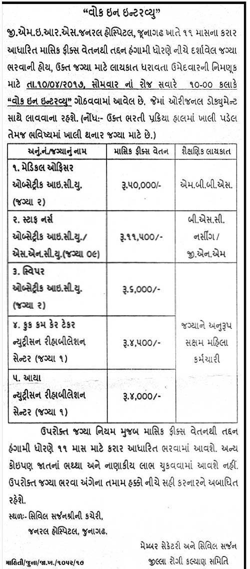 GMERS General Hospital Junagadh Recruitment 2017 for 15 Medical Officer, Staff Nurse & Other Posts