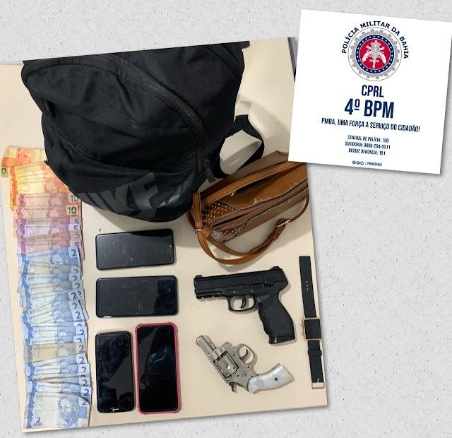 Policiais do Quarto Batalhão apreendem arma de fogo e simulacro, além de recuperarem material roubado em Inhambupe
