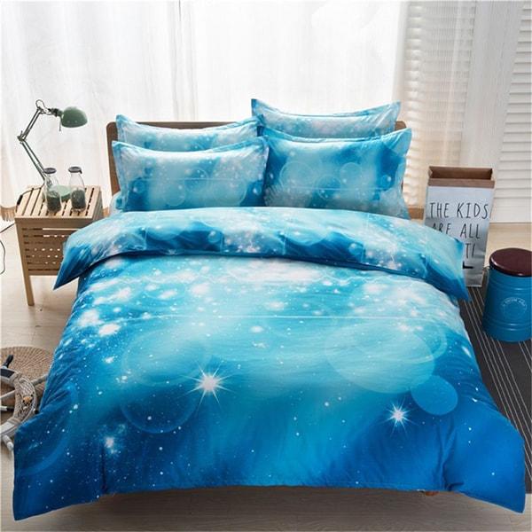 Starry Sky Pattern Bedding Set Quilt Cover Bed Sheet Pillowslips