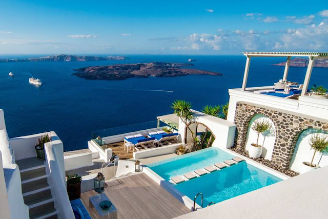 Iconic Santorini: Overlooking the Greek island's famed sapphire waters